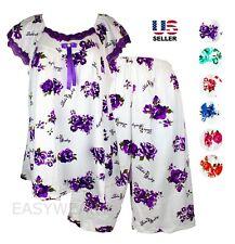 Womens Cotton Pajamas Set 2Pcs Top & Bottom Short Sleepwear Nightwear Floral