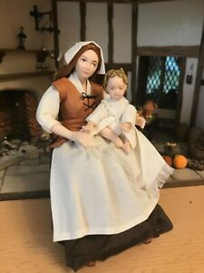 12th Scale Artisan Tudor Wet Nurse and baby by Rycote Miniatures