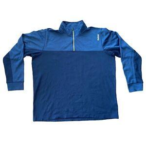 """Reebok Sports Track Jacket Blue 1/4 Zip 2XL XXL 27"""" Mens Fleece Playwarm Jumper"""