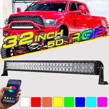 "RGB LED Light Bar 5D 32INCH 420W CREE Strobe Flash Multi Color Offroad Truck 30"""