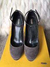 Gray Fendi Glitter Designer Ankle Strap Suede Platform Pumps 37 7