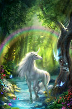 Galloping Unicorn with Rainbow Horse Magic Art Wall Room Poster - Poster 24x36