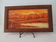 Vintage 1975 Hand Painted Art On Board Bush Scene Orange Tone Australia