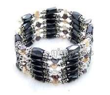 "Natural MultiColor Pearl & Black Hematite Magnetic Beads Long 38"" Bracelet 7009"