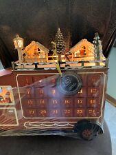 Fao Schwarz - Wooden Lighted Christmas Advent Calendar - Santa in Truck