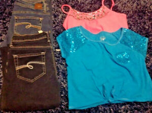 Justice 4 Piece Lot Girl's Size 16 Jeans(2pr) Tops and Tanks