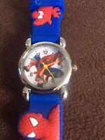 Spiderman Kids Girls Wrist Watch Analog Silicone Strap Spider Man Blue Slim 2