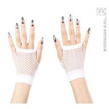 Short White Fingerless Gloves Punk Rock Rocker Ladies Fancy Dress