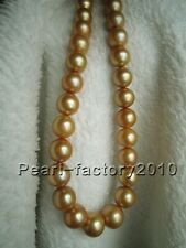 """new AAAAA 11-12 mm Natural round south sea golden pearl necklace 18"""" 14K Gold"""