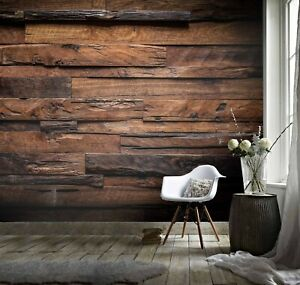 3D Brown Wood Self-adhesive Removable Wallpaper Murals Wall 3200