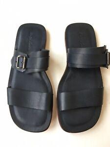 RALPH LAUREN Purple Label Mens Navy Blue Leather Strap Sandals Size US 10.5 $750