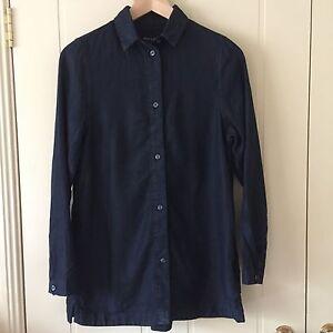 AS NEW, Waven Nott Shirt, Buttoned Linen Denim Shirt XS size 6-8, Navy RRP 107