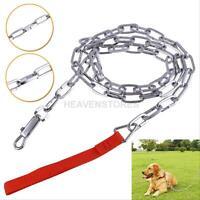 Metal Chain Link Dog Leash Nylon Handle Pet Lead Walking Training Tool hv2n