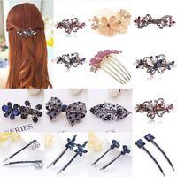 Women Girls Crystal Rhinestone Flower Barrette Hair Clip Clamp Hairpin