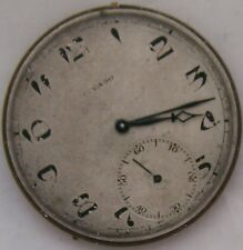 Movado Pocket watch movement & dial 44,5 mm. in diameter Balance Ok. to restore