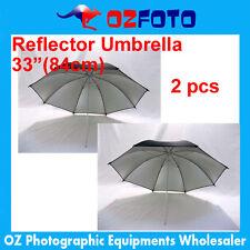 "Premium 2Pcs 33"" 84cm Studio Black Silver Reflector Umbrella NEW AU LOCAL SELLER"