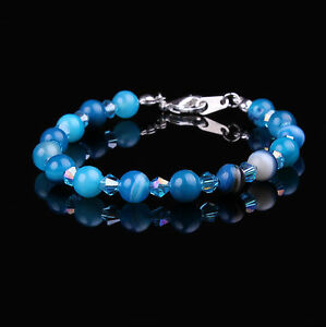 Blue Striped Agate and Aquamarine Swarovski Crystal Elements Bracelet