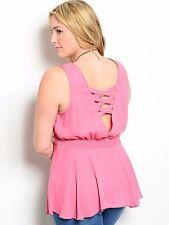 Size 1X TANK TOP SHIRT Pink Mauve WOMENS PLUS Criss Cross Back Straps NWT NEW