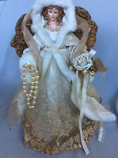 CHRISTMAS ANGEL TREE TOPPER / ELEGANT ANGEL with STUNNING WHITE & GOLD COSTUME