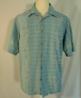 Tommy Bahama Hawaiian Shirt Mens L Vintage Silk Button Up Camp Floral Blue
