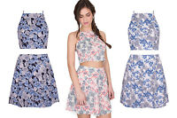 Floral Print Womens Ladies New High Neck Crop Top Skater Skirt Dress Set Co-Ord