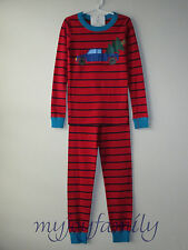 HANNA ANDERSSON Organic Long Johns Pajamas Red Navy Truck Tree 130 8 NWT