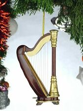 """GOLD & BROWN HARP MUSICAL INSTRUMENT 4.5"""" CHRISTMAS ORNAMENT GIFT BOXED"""