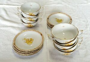 SET 10 Herend Chinese Bouquet -- Yellow Cup & Saucer Sets -- AJ Apponyi Hungary