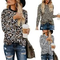 Ladies T-Shirt Blouse Top Shirt Crew Neck Long Sleeve Casual Leopard Print