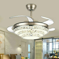 "42""Modern Crystal Invisible Ceiling Fan Light Remote LED Chandelier Lamp Fixture"