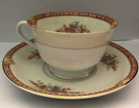 Noritake Teacup And Saucer From Occupied Japan~ Floral And Gold Design