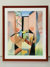 Mid Century Abstract Cubism Geometric Colored Drawing Painting Framed 20x25