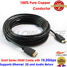 Gold Plated 25FT HDMI Cable Ultra Speed 10.2Gbps for Ethernet 3D 4K Audio Return