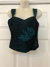 New M&S Marks And Spencer Corset Boned Basque Style Teal Green Top UK 10 DM48