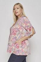 Romantic Pink Paisley Plus Size Women's Tunic Top Ruffle Sleeve16 18 20 1X 2X 3X