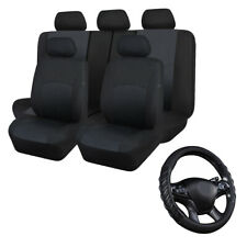 Stamp Fabric Car Seat Covers Set Black & Black Car Steering Wheel Cover Leather