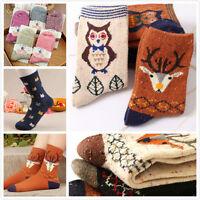 Christmas Gift Cartoon Deer Women Wool Socks Warm Winter Sock Cute Comfortable #