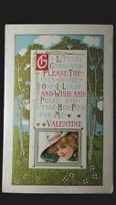 Vintage Valentine Post Card Go Little Card And Please The Eyes Of The One I Love
