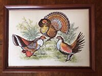 *1970's Framed Vintage Embroidered Fabric Turkey Bird Fall Colors,18x13 wall art