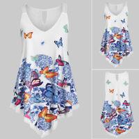 Women Summer Plus Size Asymmetrical Butterfly Print Ladies Tank Top Blouse Shirt