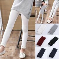 Girls Kids Winter Warm Thick Tight Pants Stretch Skinny Leggings Trousers 3-12Y