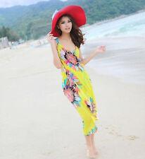 Yellow Floral Sun Block Sexy Beach Towel Bikini Cover Up Sarong Wrap Pareo COOL