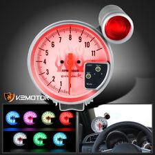 "5"" JDM 7 LED Shift Light White Face 11K RPM Tachometer Tach Gauge Set"