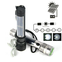 Solar Powered 3W LED USB Rechargeable Flashlight Torch 3 mode Camping Light Lamp