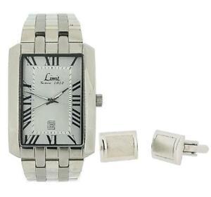 Limit Gents Date Silver Tone Metal Bracelet Watch & Cufflinks Gift Set 5459G.45
