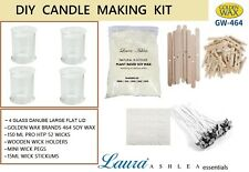 1KG 100% NATURAL SOY WAX CANDLE MAKING KIT+ 4 DANUBE JARS CLEAR LARGE FLAT LIDS