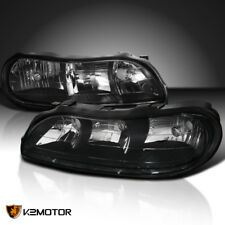 1997-2003 Chevy Malibu Black Replacement Headlights Clear Corner Lamps Pair