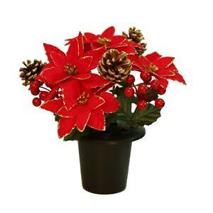 Christmas Memorial Grave Crem Pot Red Gold Poinsettias Red Berries Gold Cones
