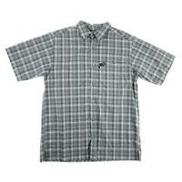 Columbia Mens OutdoorButton Shirt Black Gray Blue Plaid Short Sleeve Size L