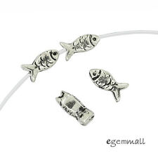 4 Antique Sterling Silver Fish Spacer Beads #99465
